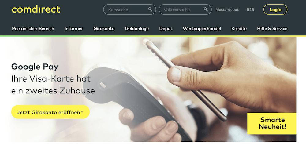 comdirect bietet seinen Kunden die Möglichkeit mit Google Pay zu bezahlen