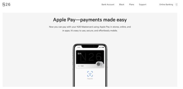 Neben Google Pay bietet der Anbieter N26 auf Apple Pay an