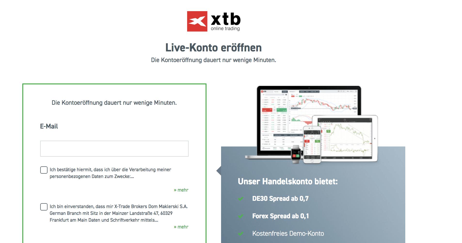XTB Kontoeröffnung