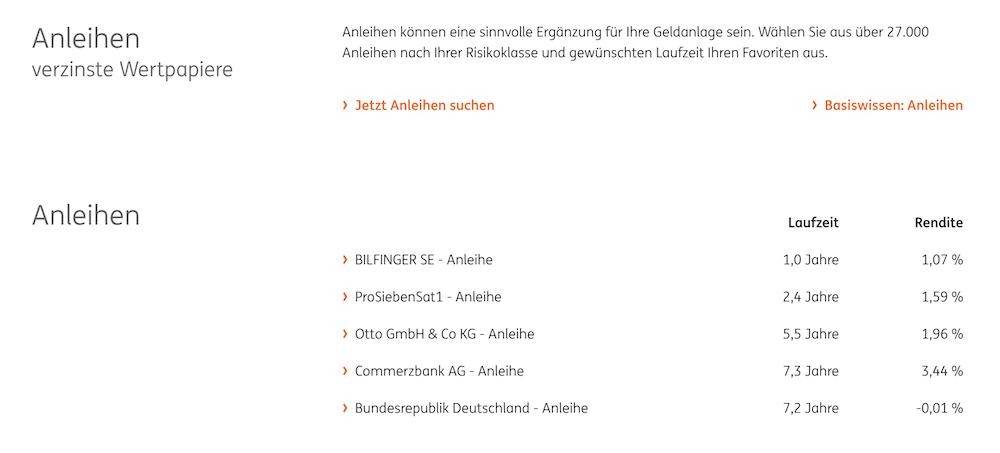 ING-DiBa Anleihen