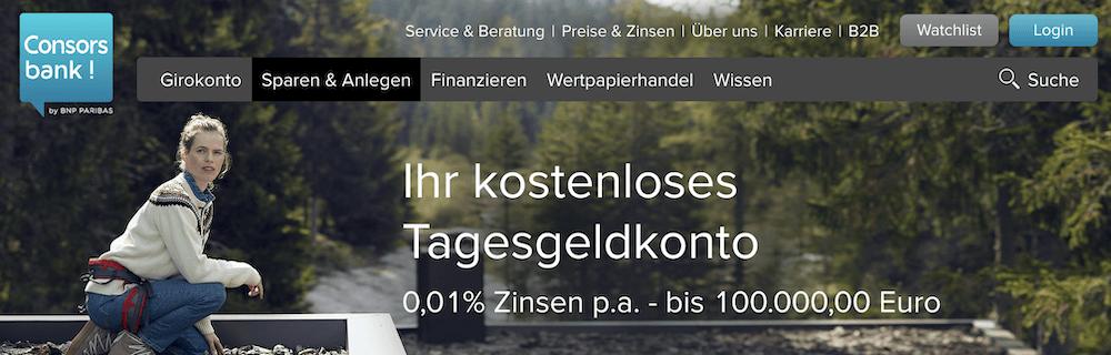 Consorsbank Tagesgeld Zinsen