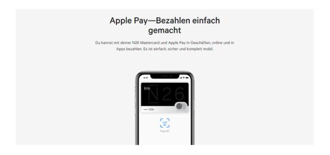Apple Pay ist auch bei N26 verfügbar