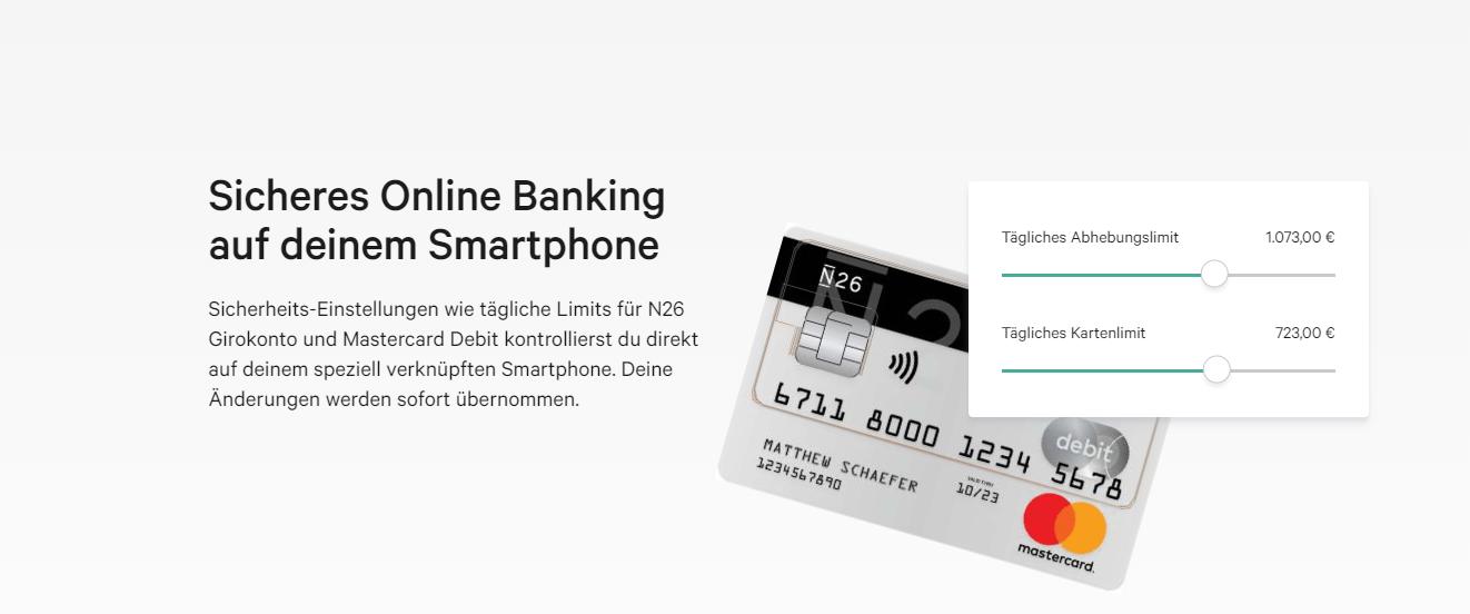 Die N26 bietet sicheres Online Banking