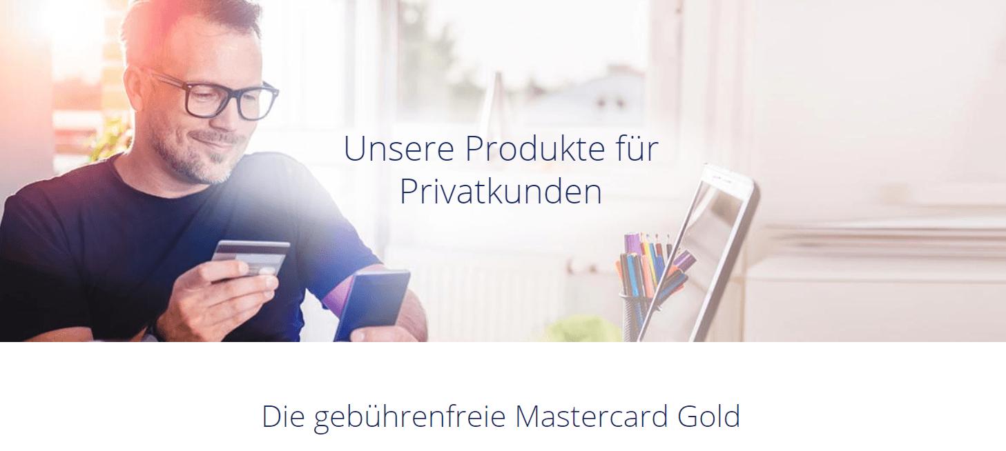 Die gebührenfreie Mastercard Gold ist ein gutes Angebot für Privatkunden