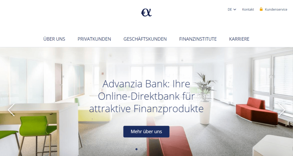 Die Website der Advanzia-Bank