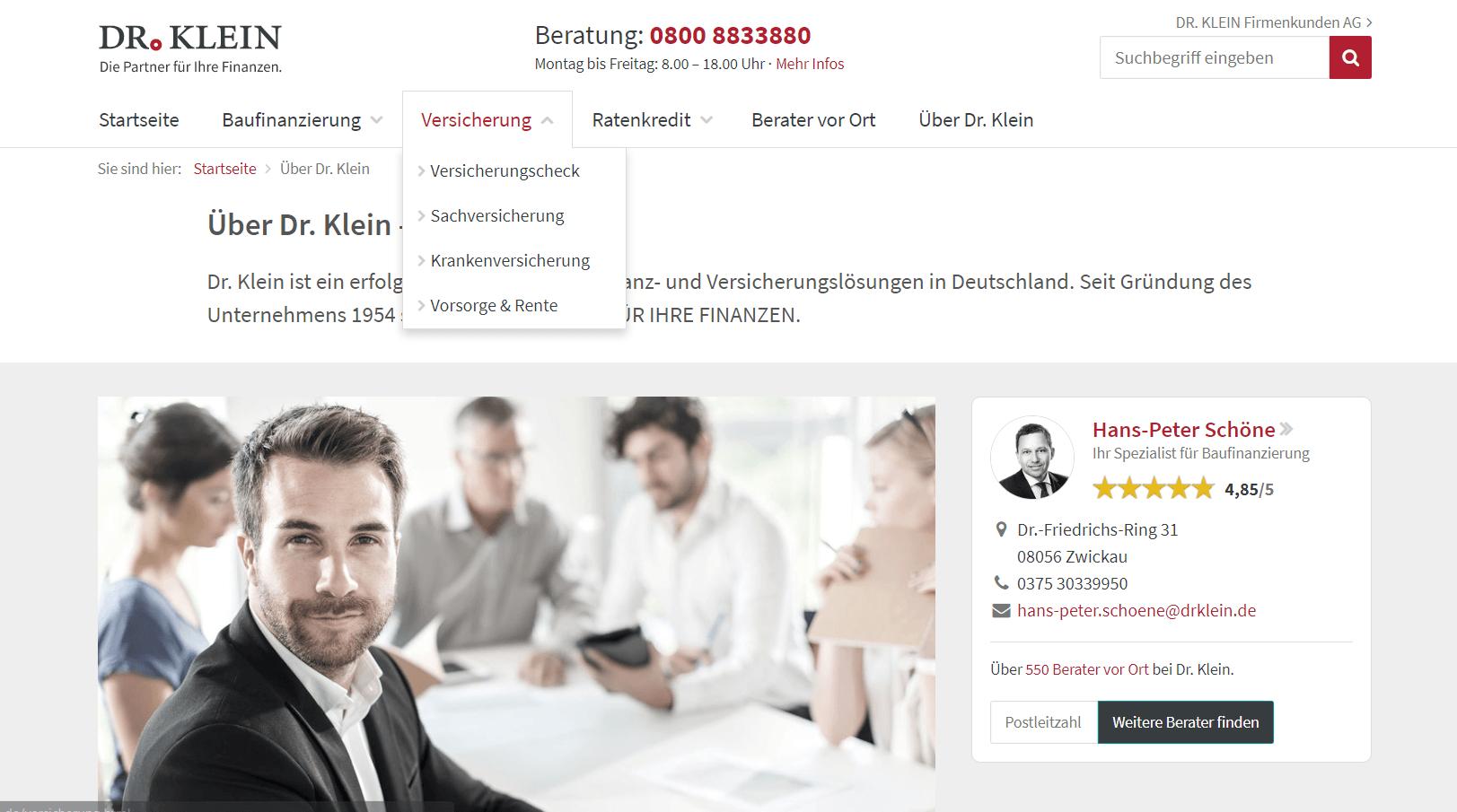 Die Website von Dr.Klein