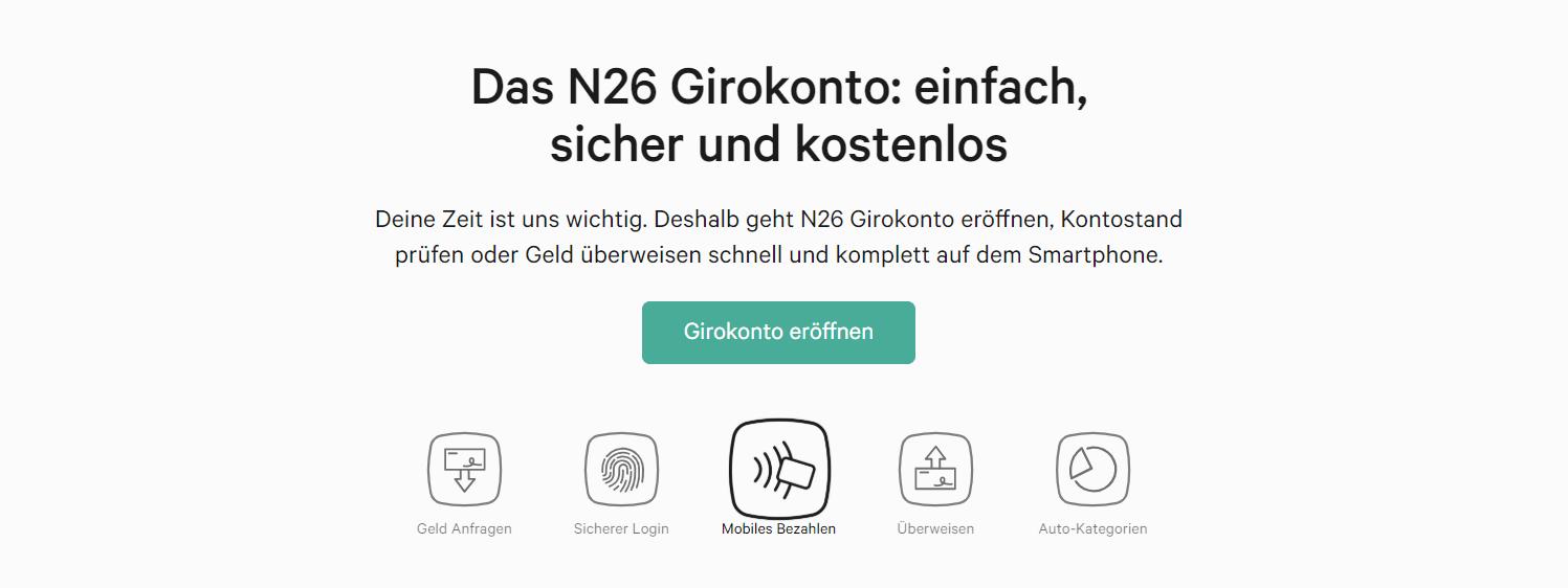Die N26 bietet ein einfaches, sicheres & kostenloses Girokonto