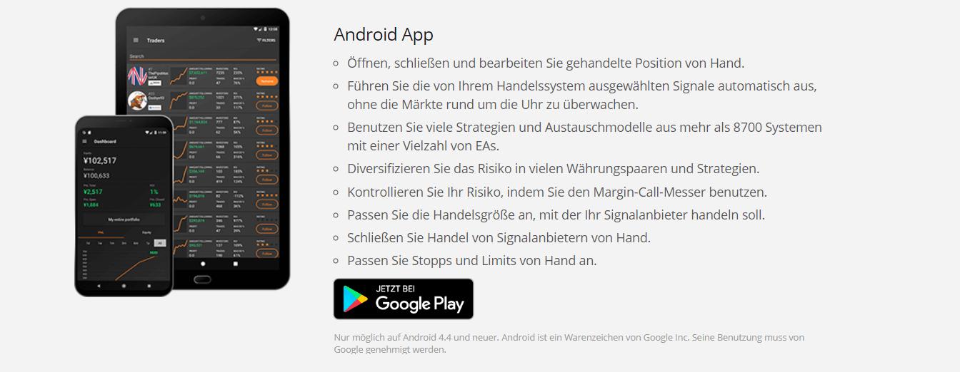 Das ist die Android-App von Zulutrade