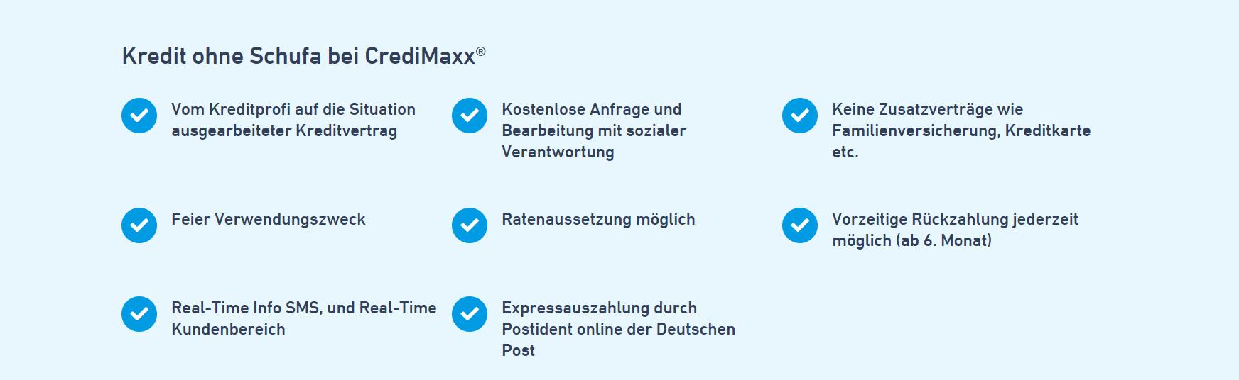 Das sind die Vorteile des Kredites ohne Schufa bei CrediMaxx