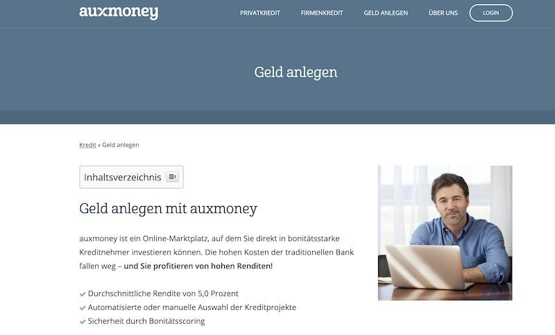Auxmoney Geldanlage