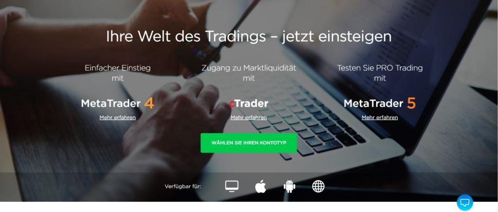 OctaFX bietet verschiedene Trading Plattformen an
